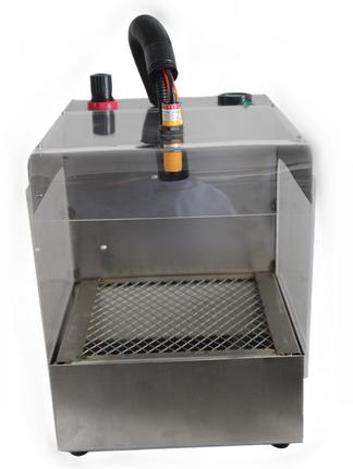 将物体(电路板,手机外壳等)送入静电除尘风箱,在光电感应开关的感应